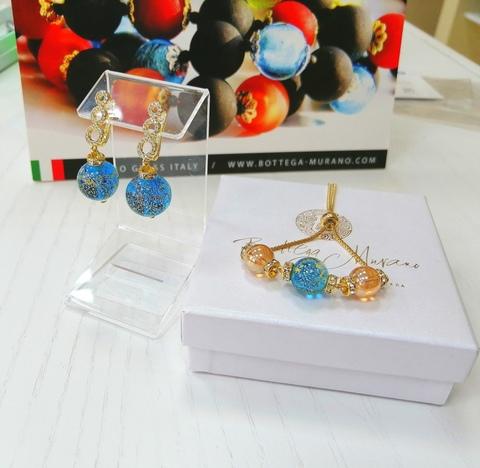 Комплект из браслета и серег со стразами Franchesca Medio Ca'D'oro 3502