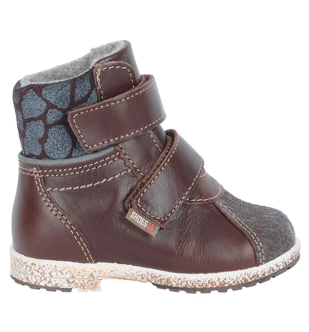 Ботинки для мальчиков Лель (LEL) из натуральной кожи на байке на липучках цвет коричневый