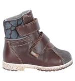 Ботинки для мальчиков Лель (LEL) из натуральной кожи на байке на липучках цвет коричневый. Изображение 4 из 6.