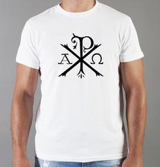 Футболка с принтом Альфа и Омега, Рыбка, Христианство, Православие, Христианские символы, белая 0011