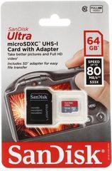 Карта памяти SanDisk Ultra microSDHC UHS-I 64GB Class10 80MB/s