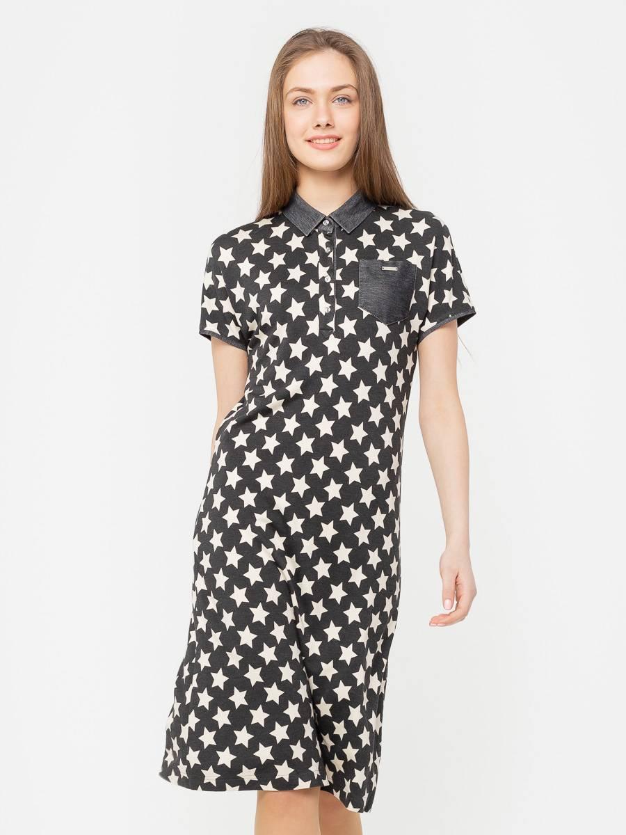 Платье З270-655 - Трикотажное платье-поло с цельнокроеными рукавами и полуприлегающим силуэтом. Комфортное и практичное, оно станет отличным решением на каждый день.