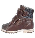 Ботинки для мальчиков Лель (LEL) из натуральной кожи на байке на липучках цвет коричневый. Изображение 1 из 6.