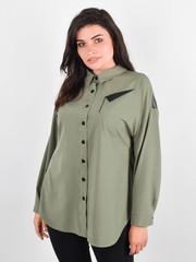 Ніколь. Жіноча сорочка для великих розмірів. Олива.