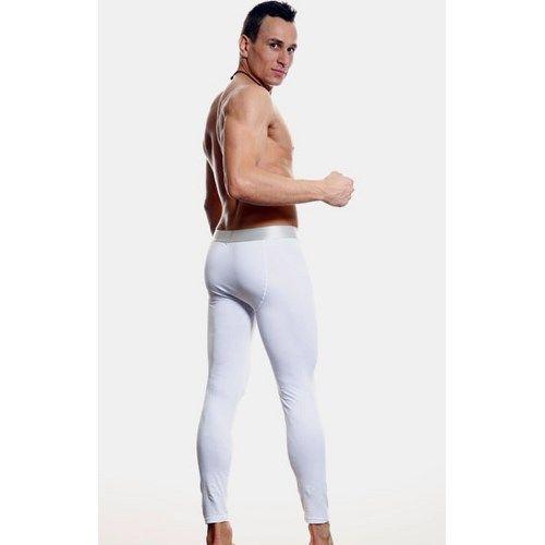 Мужские кальсоны белые с серебристой резинкой Calvin Klein Steel Long Johns White