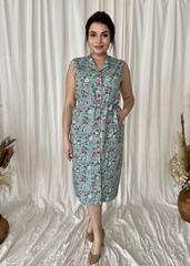 Діна. Красива літня сукня на гудзиках. М'ята