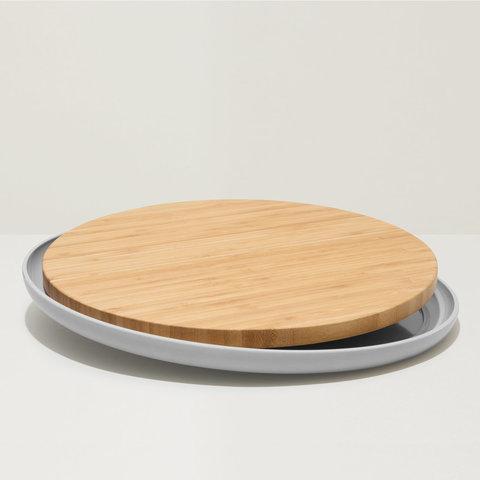 Доска разделочная бамбуковая с тарелкой 36,5*2см Leo