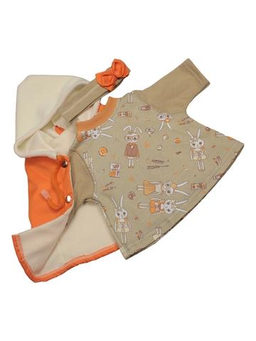 Жилет с платьем - Оранжевый. Одежда для кукол, пупсов и мягких игрушек.