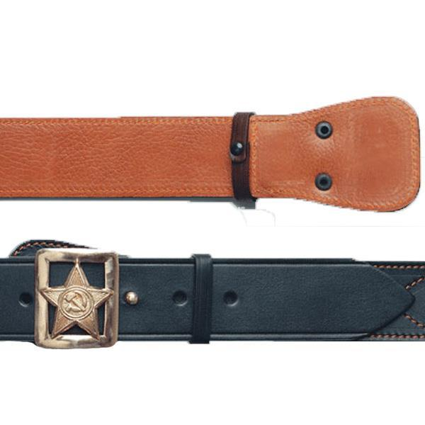 Ремень кожаный генеральский со звездой, серпом и молотом