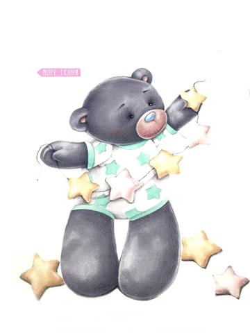 Панель(купон) мишка со звездочками,мята-75*100 см