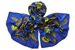 Палантин синий с принтом 1377