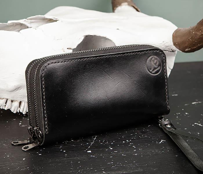 WB192-1 Мужской черный клатч на 2 молнии ручной работы
