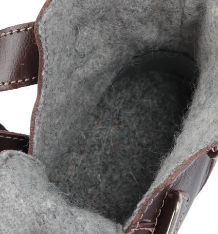 Ботинки для мальчиков Лель (LEL) из натуральной кожи на байке на липучках цвет коричневый. Изображение 5 из 6.