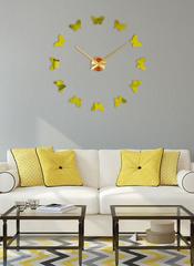 Большие 3D часы бесшумные на стену золотые, 50- 110 см