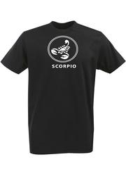 Футболка с однотонным принтом Знаки Зодиака (Скорпион) черная 002