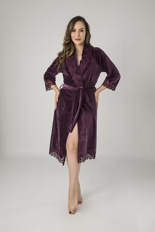 Халат женский  велюровый с кружевом Rosalia 0411 фиолетовый NUSA Турция