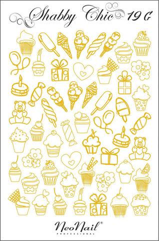 Трафарет для дизайна Shabby Chic 19 золото