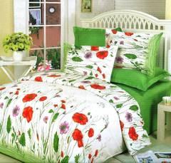 Сатиновое постельное бельё  2 спальное  В-42