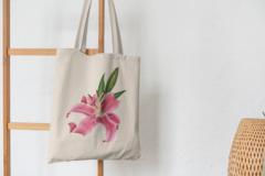 Сумка-шоппер с принтом Цветы (Лилии) бежевая 004