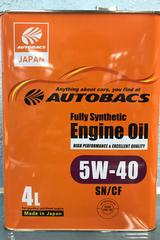 Синтетическое моторное масло Autobacs Fully Synthetic 5W-40 SN/CF 4 л