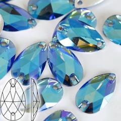 Стразы пришивные Light Sapphire AB, Drope светло-синие купить оптом