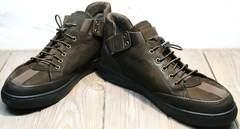Кожаные коричневые кроссовки мужские демисезонные Luciano Bellini 71748 Brown