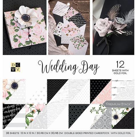 Набор двусторонней бумаги с фольгированием - 30*30 см DCWV Double-Sided Cardstock Stack- Wedding Day - 36 листов