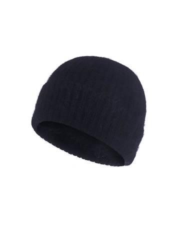Женская шапка черного цвета из ангоры - фото 1