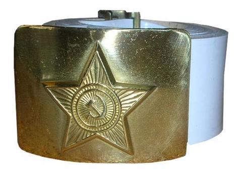 Ремень солдатский, кожа,  латунная бляха со звездой белый