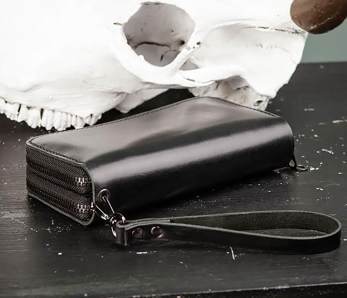 WB192-1 Мужской черный клатч на 2 молнии ручной работы фото 06