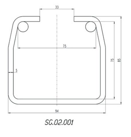 Шина направляющая Alutech до 750 кг. из оцинкованной стали