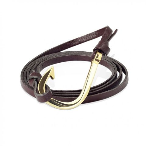 Кожаный браслет-намотка коричневый с крючком SPIKES SL0224-BRN