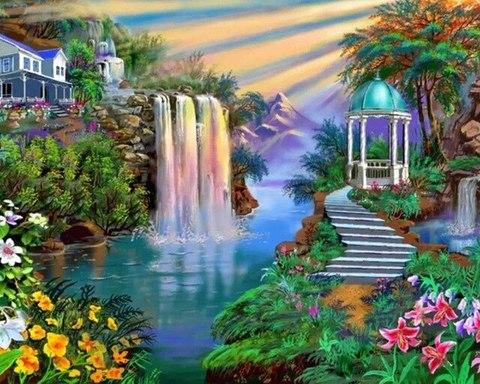 Алмазная Мозаика 5D 40x50 Водопад у дома