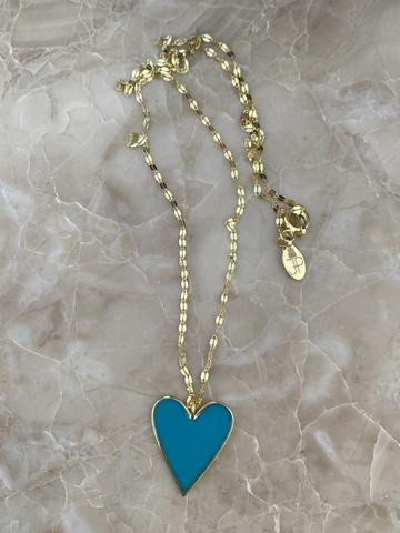 Колье из позолоченного серебра с сердечком из голубой эмали