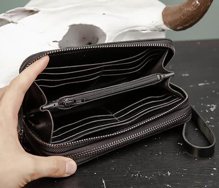 WB192-1 Мужской черный клатч на 2 молнии ручной работы фото 08