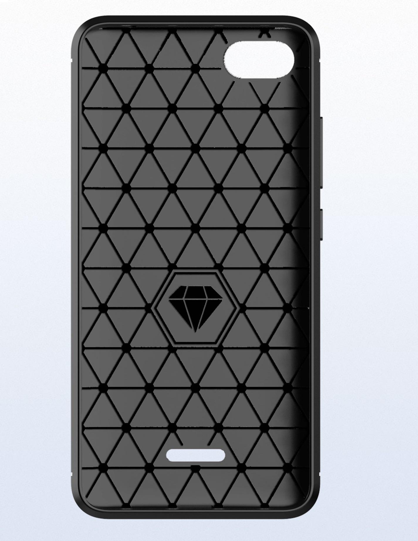Чехол для Xiaomi Redmi 6A цвет Black (черный), серия Carbon от Caseport