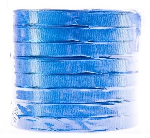Лента атласная в уп. 8 шт. (размер: 10 мм х 50 ярд) Цвет: голубой