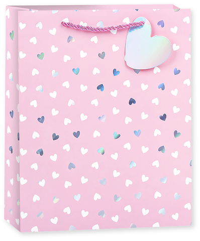 Пакет подарочный, Конфетти сердец, Розовый, Голография, 42*32*12 см