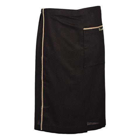 Килт льняной мужской чёрный с цветной полосой