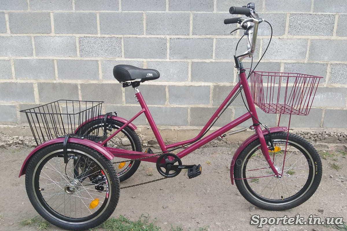 Трехколесный велосипед 'Городской с корзинкой 20' с передней корзинкой (малиновый)