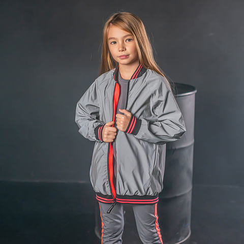 Reflective bomber jacket for teens - Neon Pink
