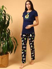 Мамаландия. Пижама для беременных и кормящих, авокадо/темно-синий