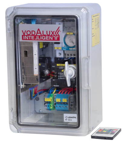RGB шкаф управления подсветкой 220V/24V/250W/DC, блок питания, контроллер, таймер, автомат VI-CP-24-250