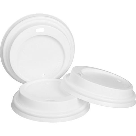 Крышка для стакана Формация 80 мм пластиковая белая с клапаном 100 штук в упаковке