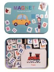 Развивающий магнитный алфавит SHAPES PUZZLE 30 карточек, 60 слов, 110 магнитов в жестяной коробке