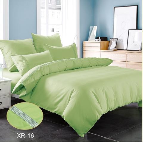 Семейное однотонное постельное белье сатин зеленый