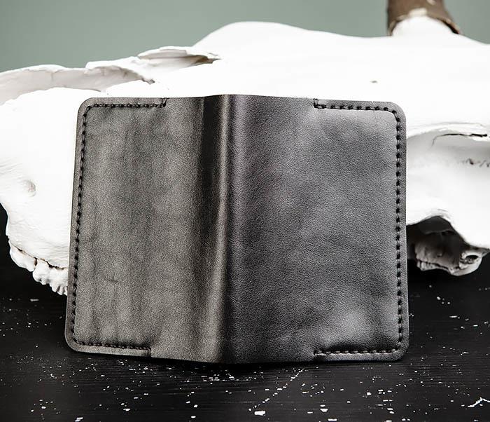 WB177-1 Обложка для паспорта из черной натуральной кожи фото 05