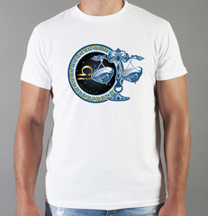Футболка с принтом Знаки Зодиака, Весы (Гороскоп, horoscope) белая 007
