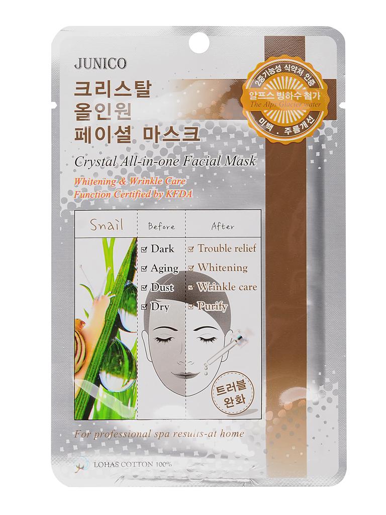 Тканевые Маска тканевая для лица с улиточным муцином Junico Crystal All-in-one Facial Mask Snail 25 мл МЖ34.jpg