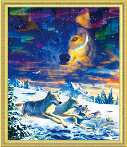 Алмазная Мозаика 40x50 Волки и северное сияние